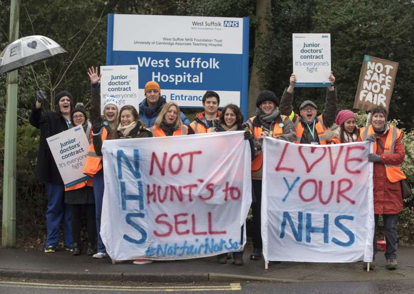 Junior doctors at West Suffolk Hospital take industrial action.