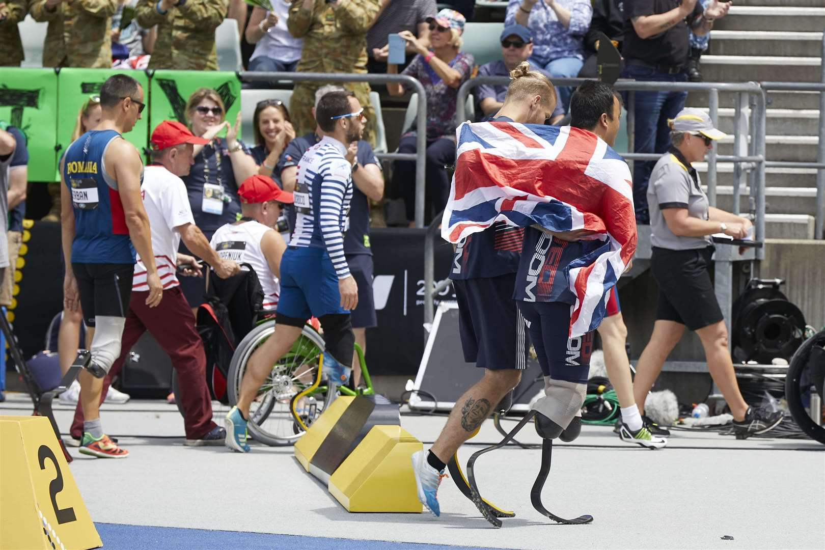 Alex Tate celebrates with Team UK at the 2018 Invictus Games. Picture: Contributed (5147087)