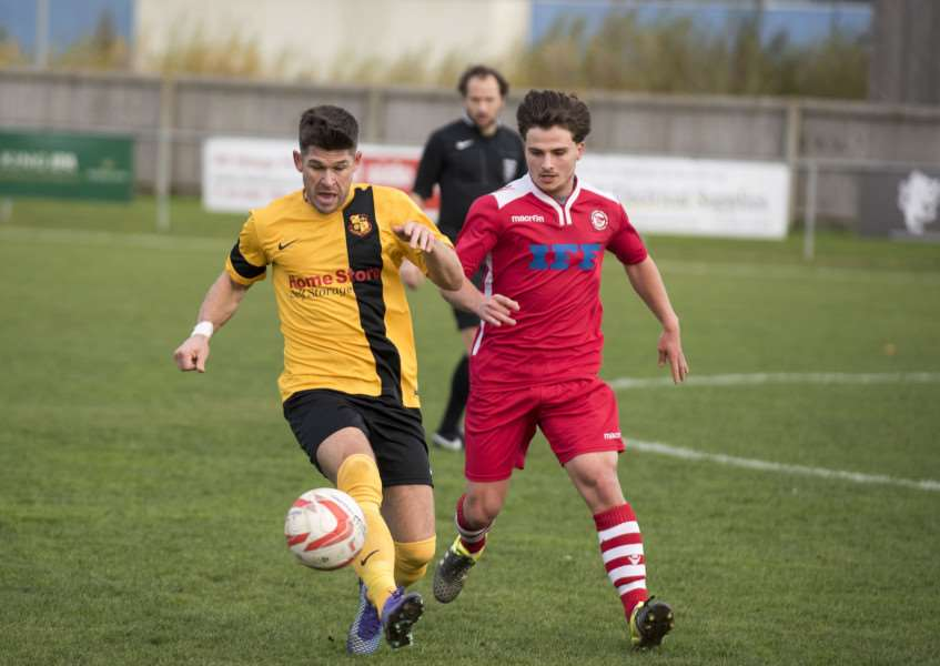 Ben Bradley, right, scored Haverhill Rovers opening goal in their 2-2 draw at home to Swaffham Town