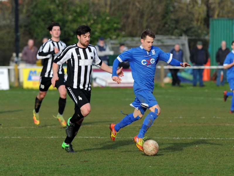 ON THE RUN: Match action from Haverhill Borough's 3-1 quarter-final win at Woodbridge Town. Picture: Mecha Morton