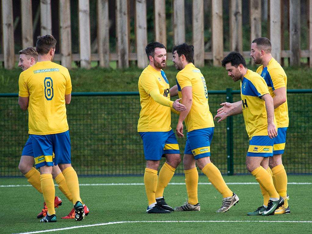 SHORT-LIVED CELEBRATIONS: Newmarket celebrate Simon Swinton's opener. Picture: Mark Westley