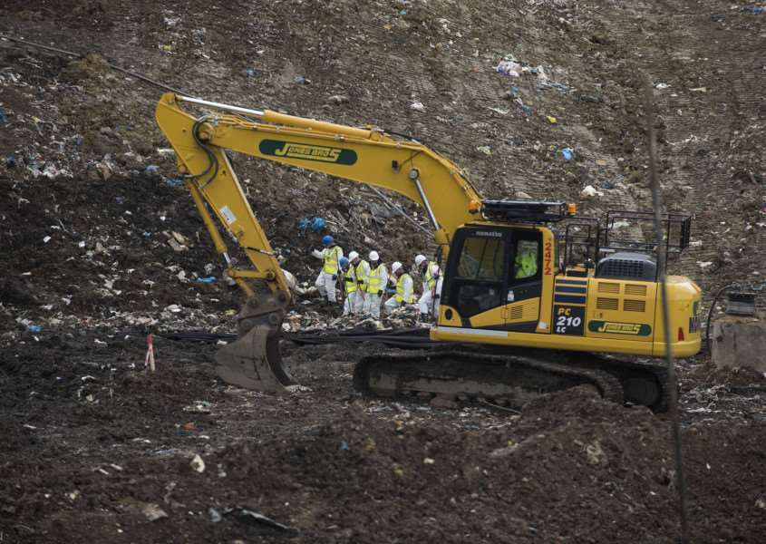 A search time sifts through refuse on the Milton landfill site..Picture Mark Westley
