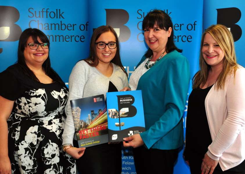 Warm welcome: from left, Suffolk Chamber's Alicia Matthews, Rachel Cornes, Amanda Ankin with Jo Pine of West Suffolk College.