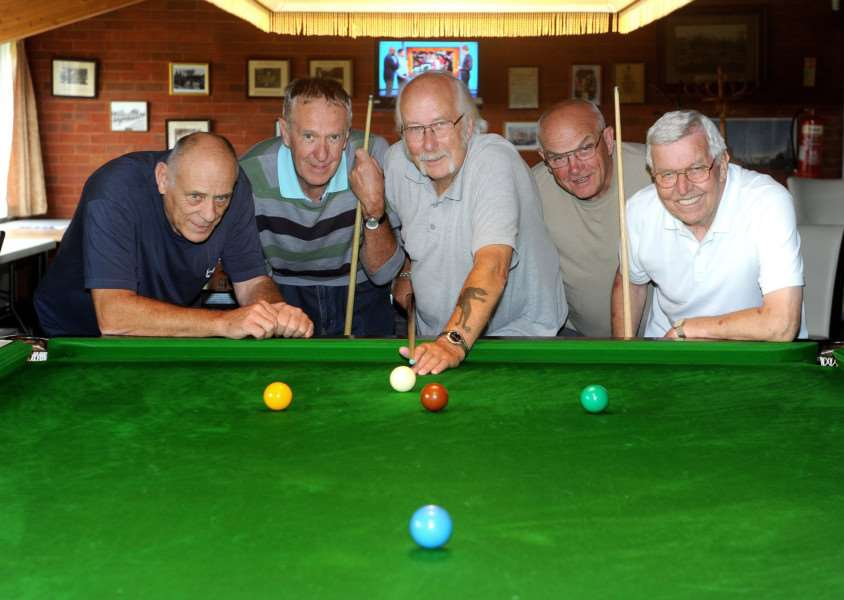 Long Melford Royal British Legion Social Club held a 24-hour snooker drive ''Pictured: Eddie Whymark, Paul Ambrose, Tony Habel, David Ford and Tony Cook''''PICTURE: Mecha Morton
