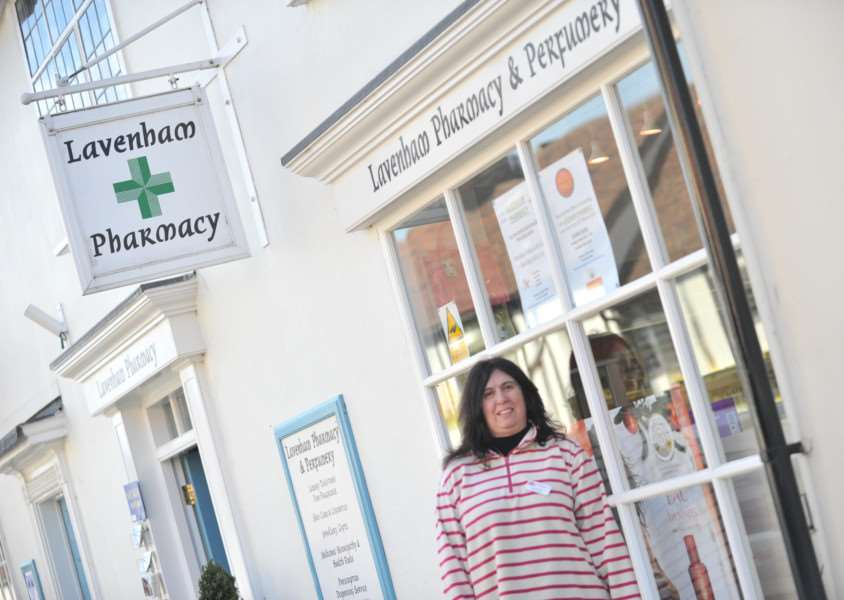 Lavenham post office was moved to Lavenham Pharamacy in 2012. Former District councillor Andrea Norman outside the new post office when it opened. ENGANL00120120320173237