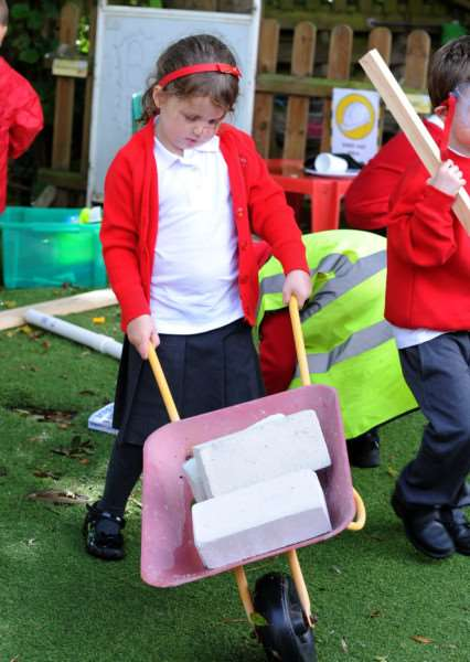 Barrow Primary School has created a builders' yard with wheel barrows and materials donated by Kent & Blaxall.''''''PICTURE: Mecha Morton