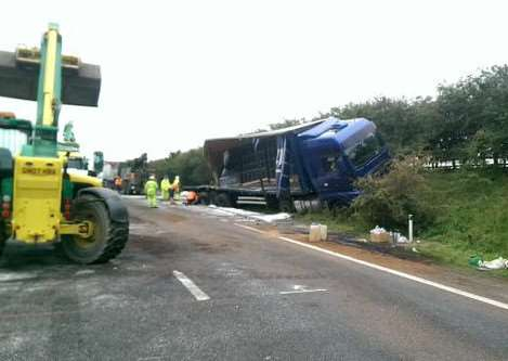 The scene on the A14 westbound today