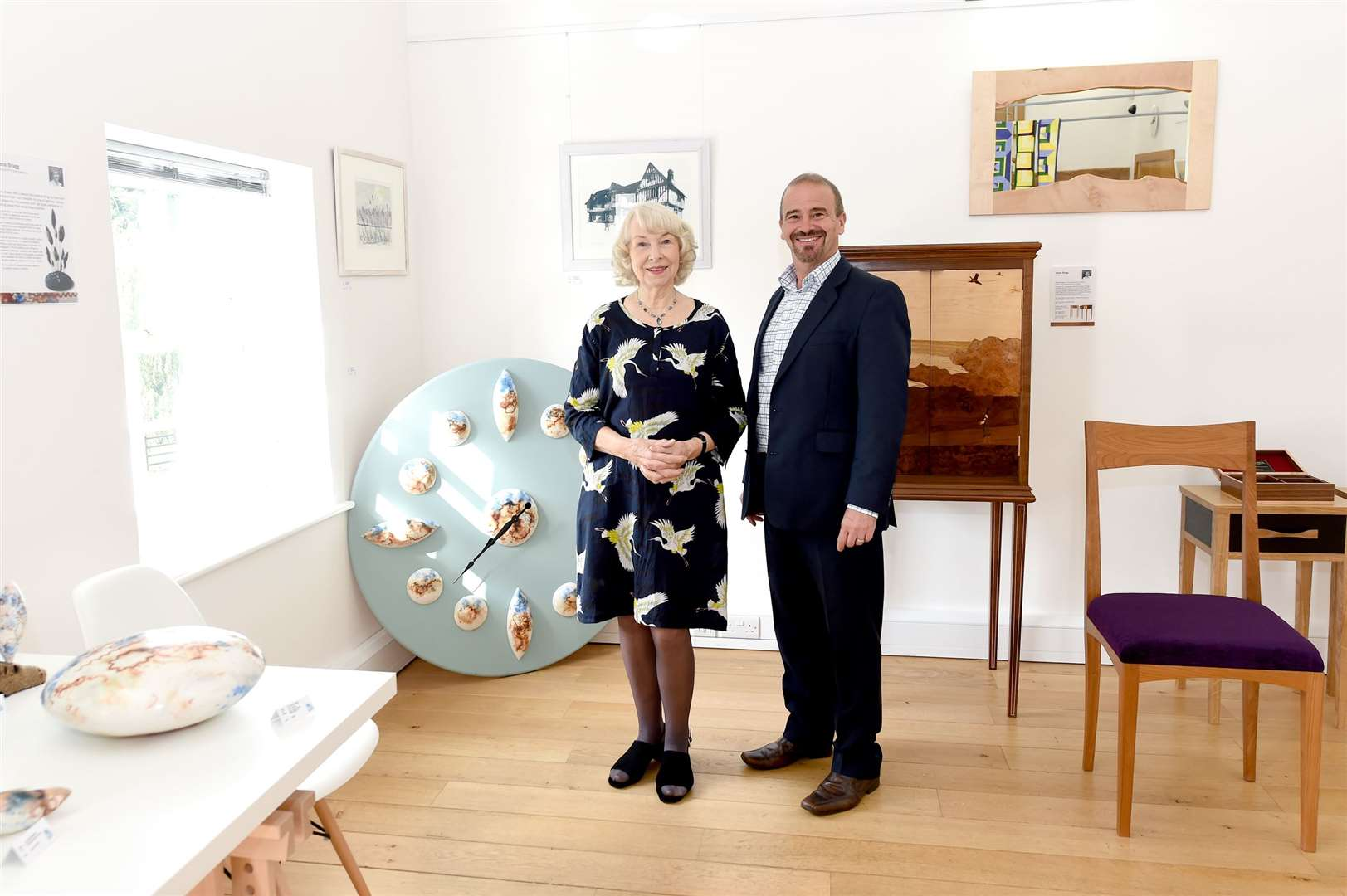 Mill Tye Gallery has a ew exhibition of local artists called Five Hands Exhibition...Pictured: Artist Rosie Perkins and gallery owner Peter Rumsey...PICTURE: Mecha Morton ... (16424189)