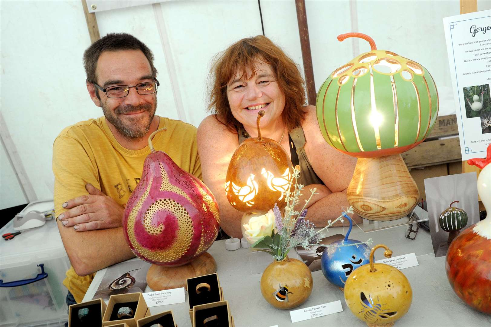 Clare Priory Craft Fair 2019..Pictured: Neil Thompson and Amanda Rutland with their creations 'Gorgeous Gourds'...PICTURE: Mecha Morton. (13785436)