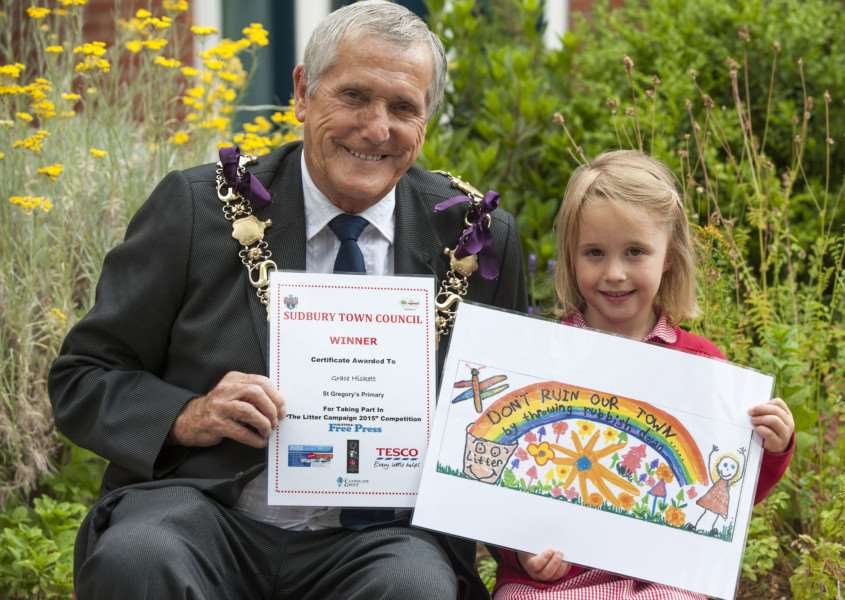 St Gregory Primary School pupil Grace Hiskett, winner of the Litter campaign competition pictured with Sudbury mayor Jack Owen Picture Mark Westley ANL-150807-230505009