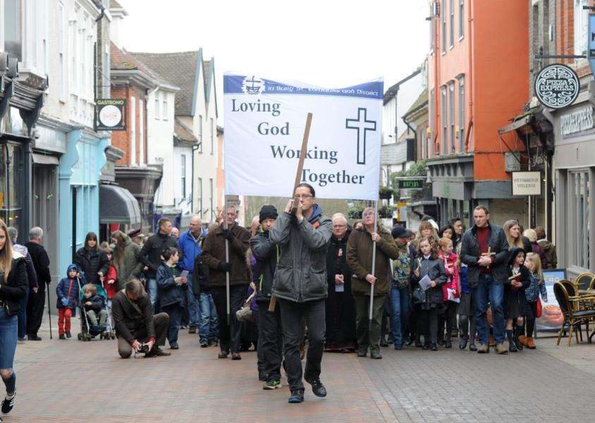 Walk of Witness in Bury St Edmunds.'''Picture: Mecha Morton.