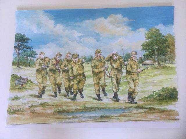 The concept art for the Dad's Army mural for Thetford's Carnegie Room (7145914)