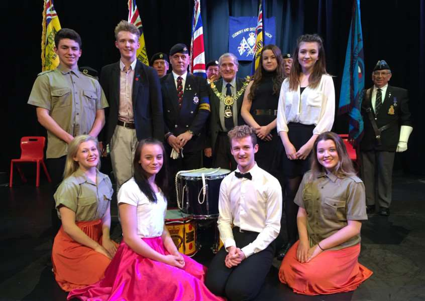 Pupils at Ormiston Sudbury Academy at the school's annual Festival of Remembrance, held to raise money for the Poppy Appeal fund. With Sudbury mayor Jack Owen and members of the Sudbury Branch of the Royal British Legion. ANL-151027-110742001