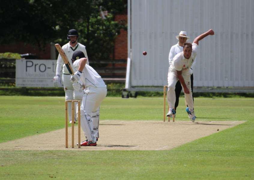 LAST EIGHT LOSS: Michael Comber bowling for Suffolk against Berkshire in the Unicorns Trophy on Sunday