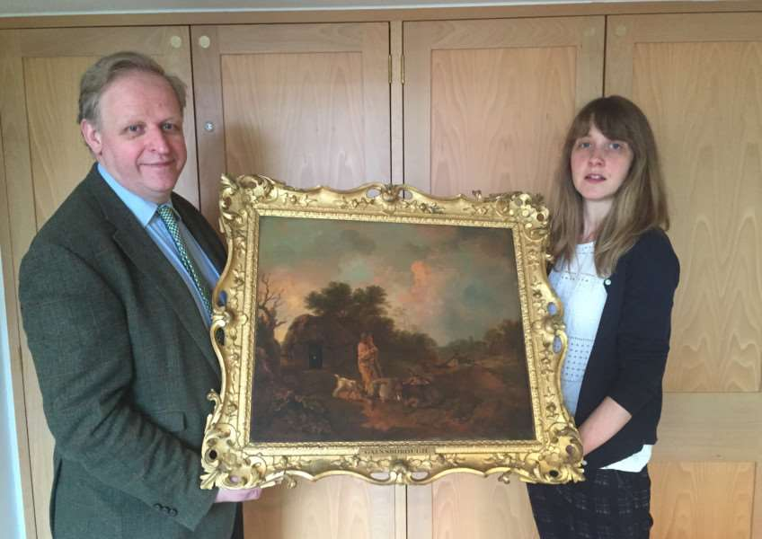 Mark Bills and Sophie Woods from Gainsborough's House with their latest acquisition. ANL-151205-130937001
