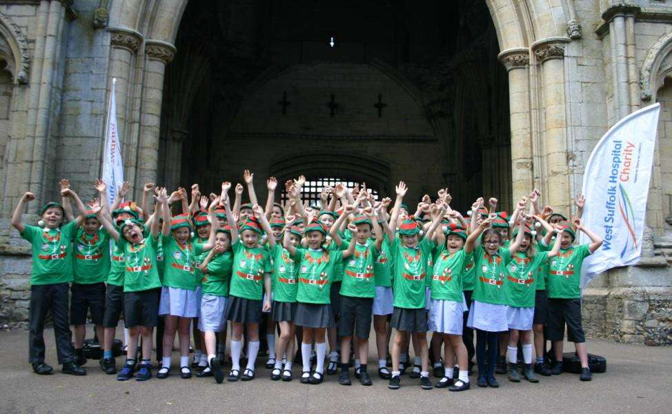 Pupils from Guildhall Feoffment Primary School help promote West Suffolk Hospital Charity's Elf Run
