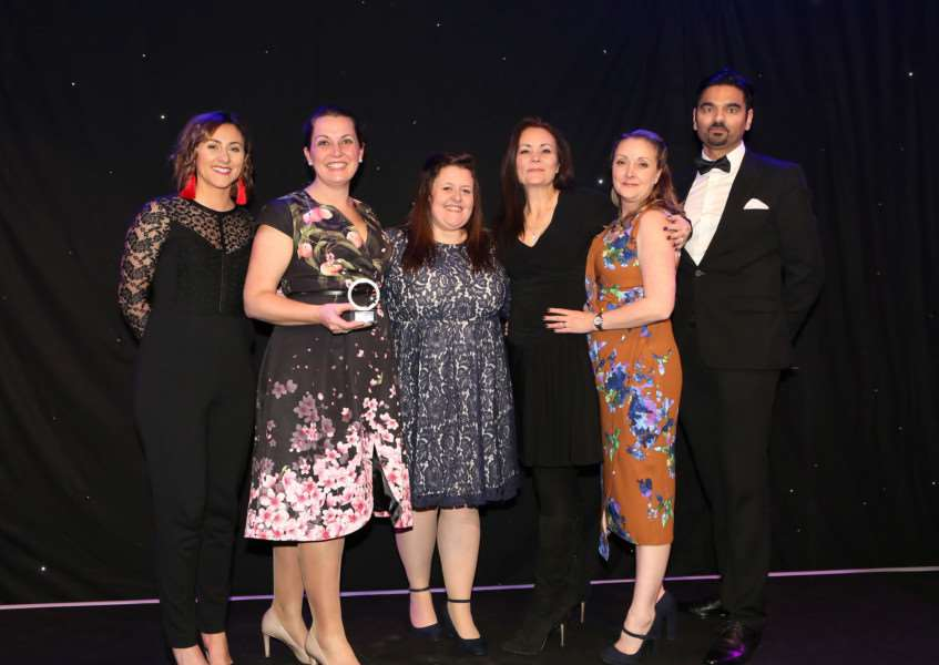 Stow Healthcare scooped two national awards at the Caring Awards 2017'PICTURE: left to right - Katie Bulmer-Cooke (Apprentice Winner and host), Ruth French (Stow Healthcare Director), Alex Ball, Fiona Smith and Sam Cutts (Stow Healthcare) and the award sponsor