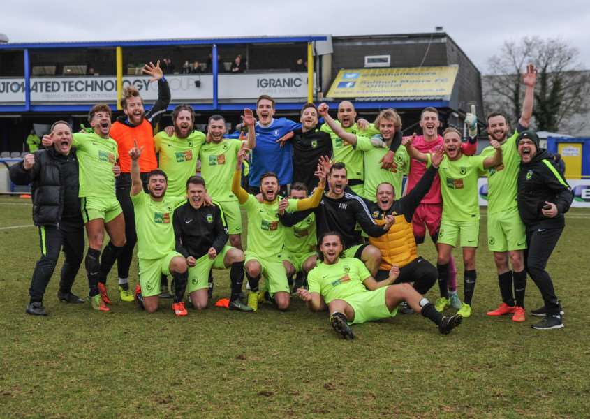 CELEBRATION TIME: Gym United are through to the final. Picture: Gary Griffiths