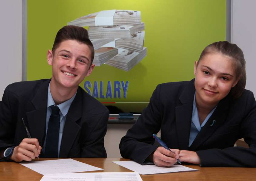 Wes Ruthven and Millie Fisher, two of the students at the Samuel Ward Academy centre of excellence for financial education
