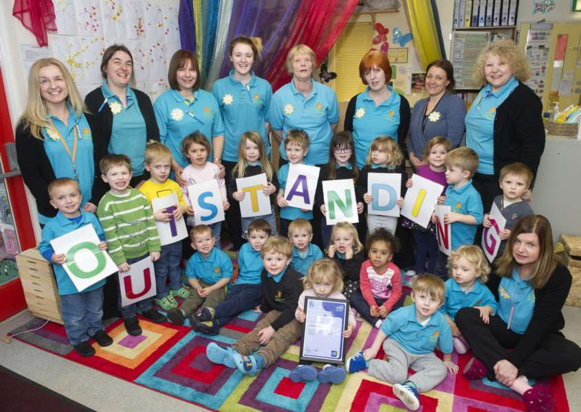 Sunflower Nursery celebrating their Outstanding Ofsted report ANL-160126-144620009
