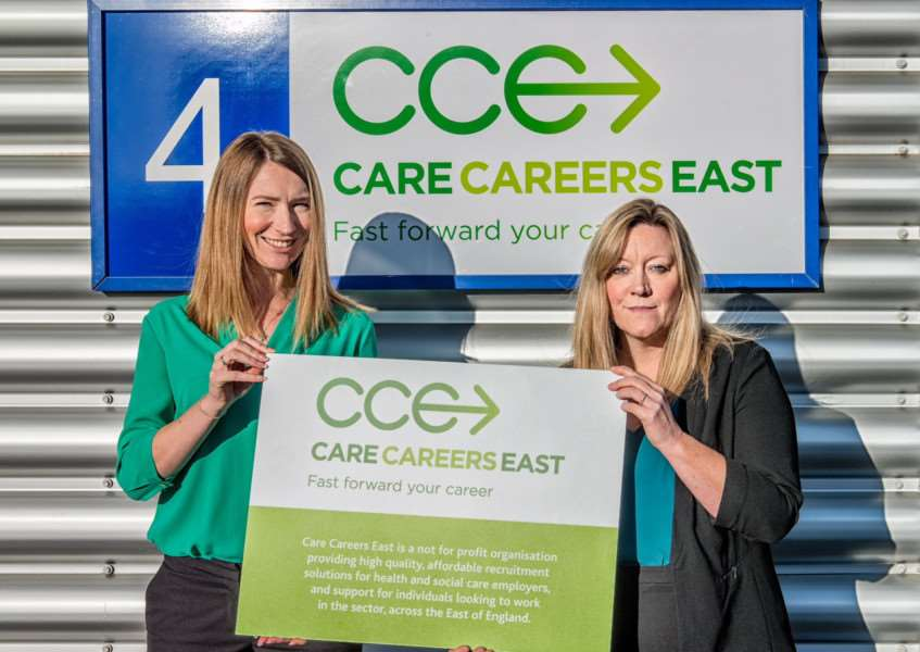 Hannah McLaughlin, Care Careers East administrator and Emma White, CCE's services manager at the launch of a new company aiming to provide recruitment solutions in the health and care sector