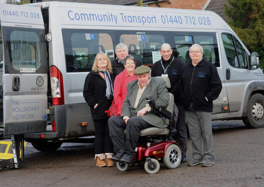 Dial a Ride is appealing for more volunteers and one of its drivers Dennis Crack is retiring aged 70. ''Pictured; (Bury office co-ordinator Jackie Laurie), volunteer Ian Hulland, passengers Julie and Steve Ruddock, Retired driver Dennis Crack and volunteer John Richard Dutton