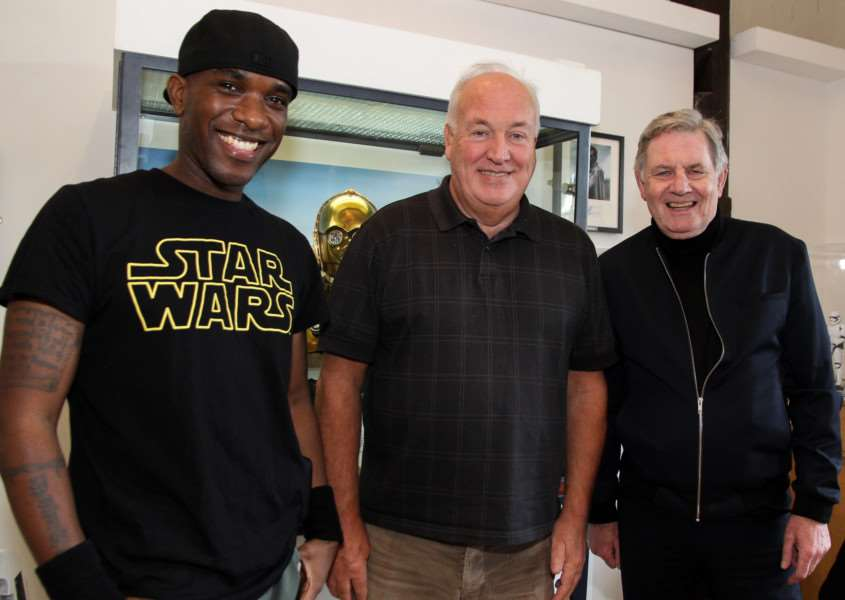 Phoenix James, who played a First Order Stormtrooper in Star Wars: The Force Awakens; legendary movie prop maker Brian Muir, who sculpted Darth Vader and Chris Bunn, the 'original Stormtrooper', who appeared in all three of the original trilogy films - photo courtesy of Christopher Morris ANL-161022-172938001