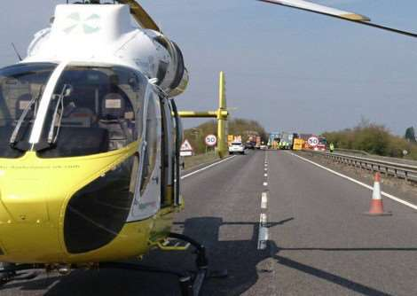 Scene of crash on A14, photo by Norfolk and Suffolk's Roads Policing Unit