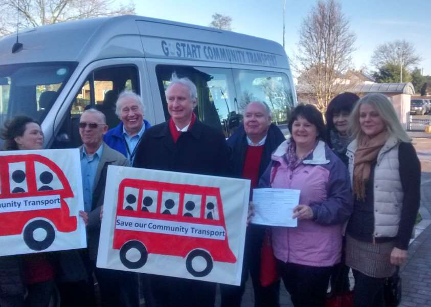 A campaign in January against changes to community transport in Suffolk. ANL-160125-173713001