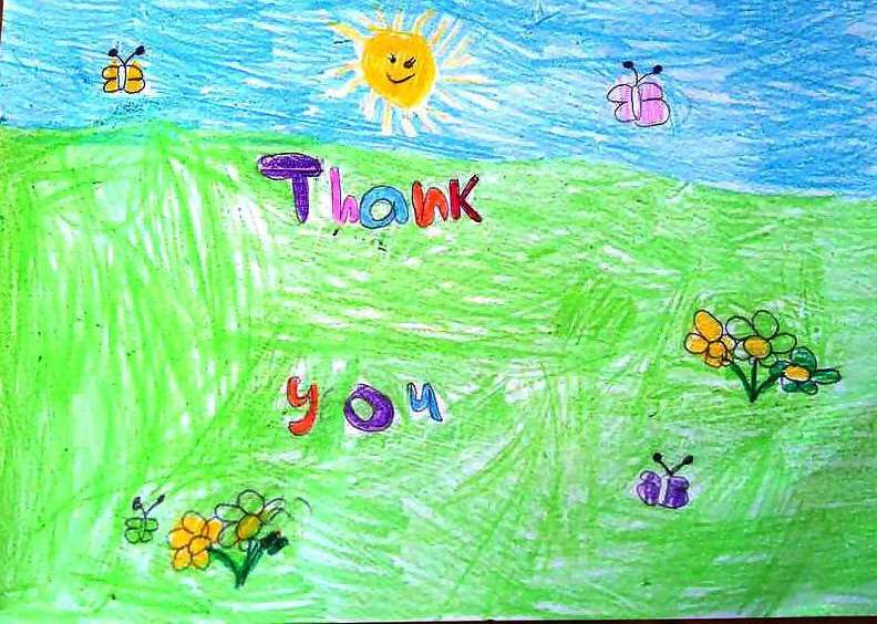 Eight-year-old Spencer Jamieson has created this Easter-themed 'thank you' picture to remind people that donating blood saves lives.
