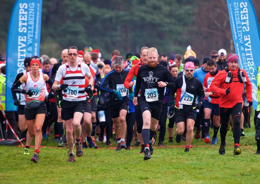 West Stow, Suffolk. Festive Forest Challenge to raise money for St Nicholas Hospice Care - half marathon and 10km run and walk.'''Picture: MARK BULLIMORE PHOTOGRAPHY