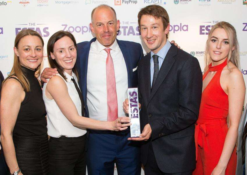 The team from Mark Ewin Estate Agents with their gold award at the Estate Agent of the Year Awards (ESTAS)