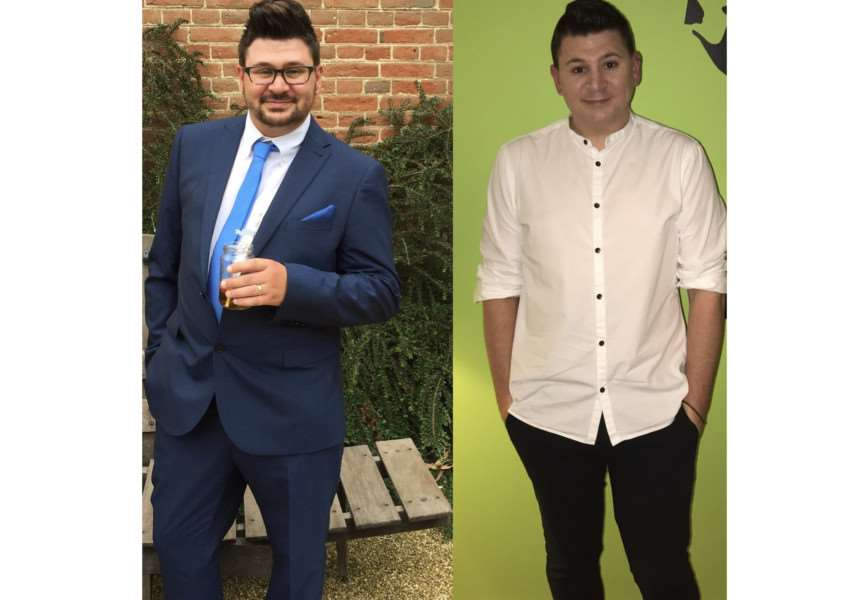 New Slimming World consultant Jason Perrio-Hunter pictured before and after his three stone weight loss ANL-160912-111316001
