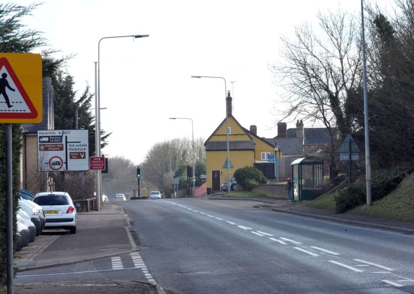 The A1307 where it goes through Linton