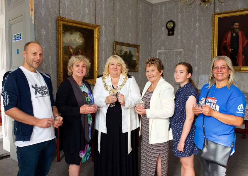Sudbury, Suffolk. Sudbury Heritage Open Day 2017. Pictured from left Richard Statham, Jacqui Howells (Town Clerk), Sarah Page (Sudbury Town Mayor), Sue Ayres Sudbury Deputy Mayor, Esther Booth and Sue Yule.''Picture: MARK BULLIMORE