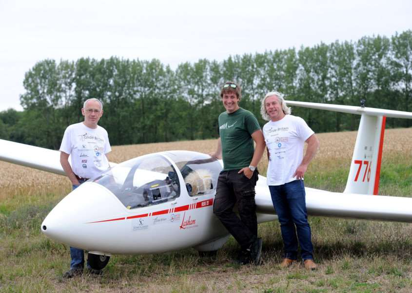Some of the Glide Britain team: Dave Latimer, Alex O'Keefe and Simon Grice who will be visitng 13 gliding clubs over 1,200km to produce footage and photos to give the public a better understand of gliding.