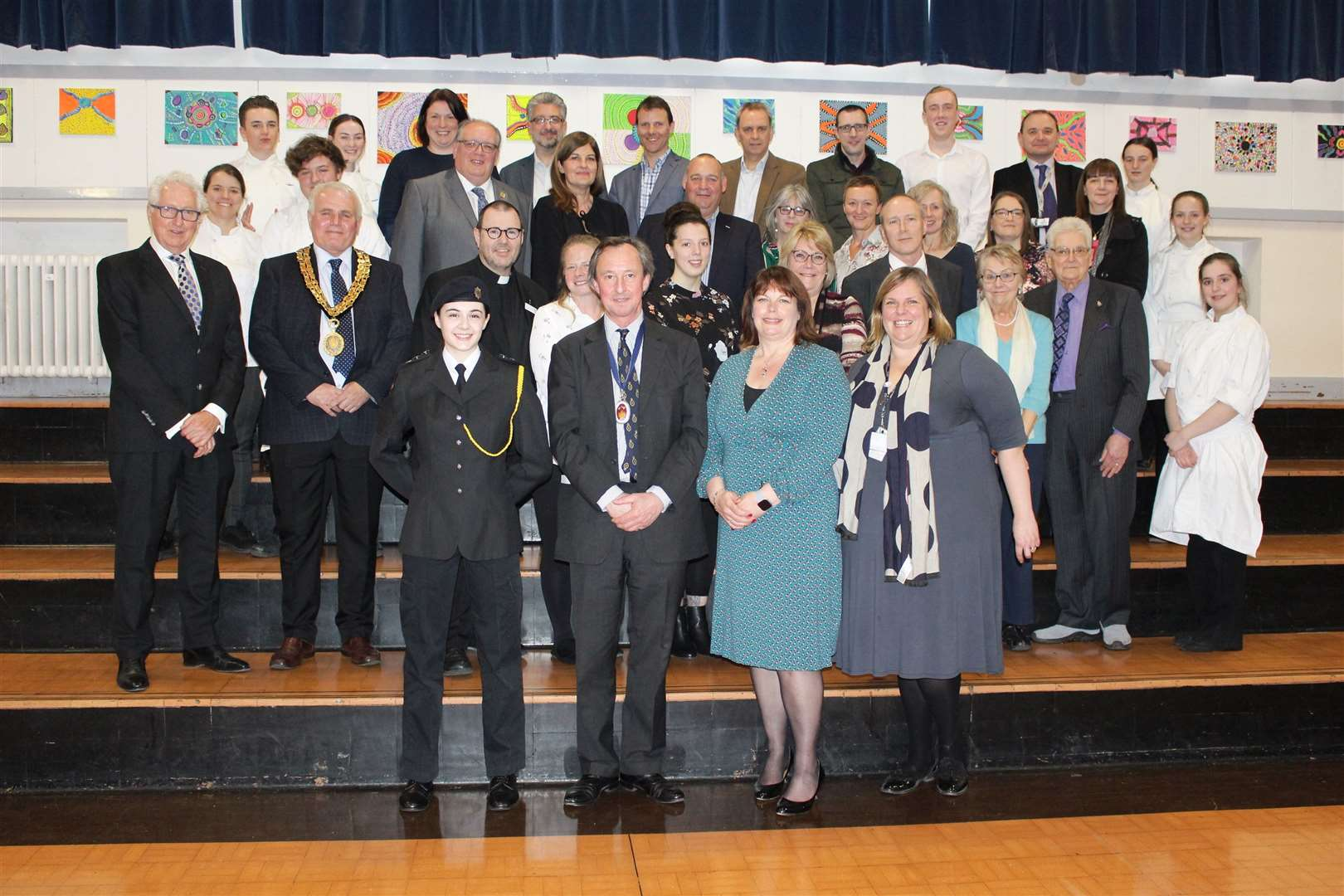 The High Sheriff of Suffolk, George Vestey, with guests and helpers at his thank you event at Castle Manor Academy. Picture by Gooderham PR (8239906)
