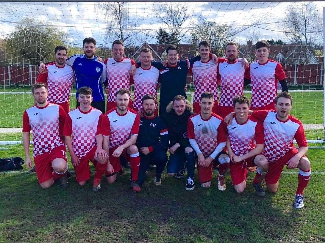 Haverhill & Hove Albion ahead of their narrow 3-2 win in the Suffolk Sunday Trophy semi-final win over reigning champions Bardwell Sports. Picture: Contributed (7844735)