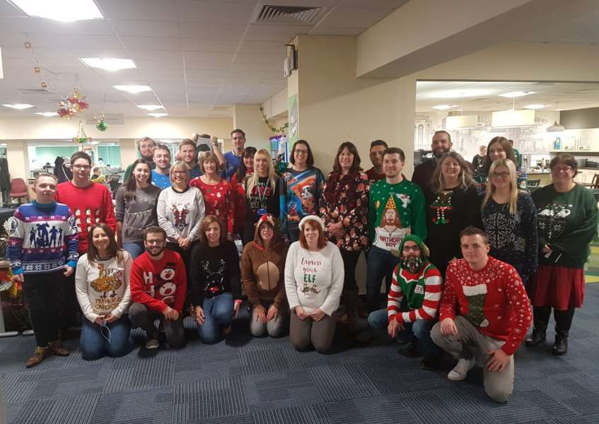 Workers at Greene King got into the festive spirit with a Christmas jumper day