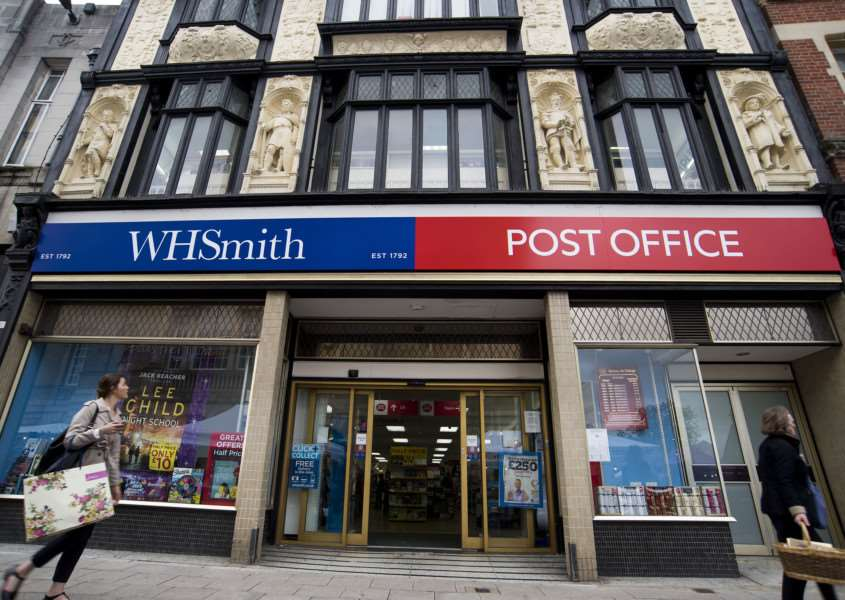 WH Smith in Bury St Edmunds with Post Office sign.''Picture Mark Westley ANL-161116-153529009