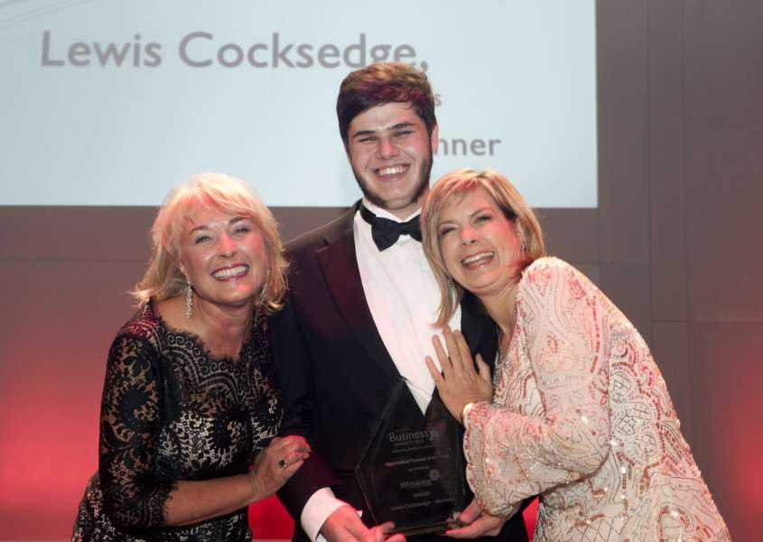 Bury Free Press Business Awards 2014 Apprentice/Trainee of the Year Lewis Cocksedge with- Jane Vincent of WS Training and TV presenter Penny Smith ANL-141013-080816009