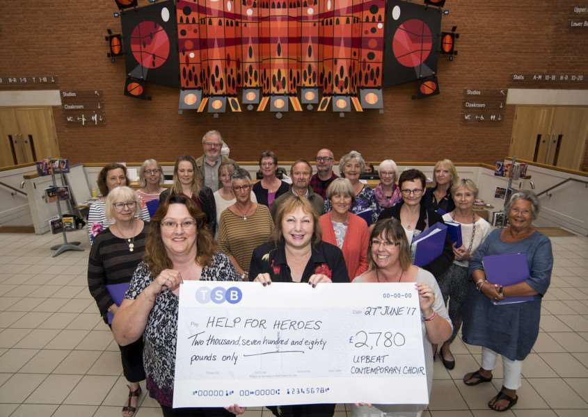 BURY APEX THEATRE'The Apex, Bury Saint Edmunds'The Upbeat Contemporary Choir from Bildeston and Lavenham is presenting a cheque for �2,780 to Help For Heroes, which was raised during a recent concert at The Apex in Bury St Edmunds.'Picture Mark Westley