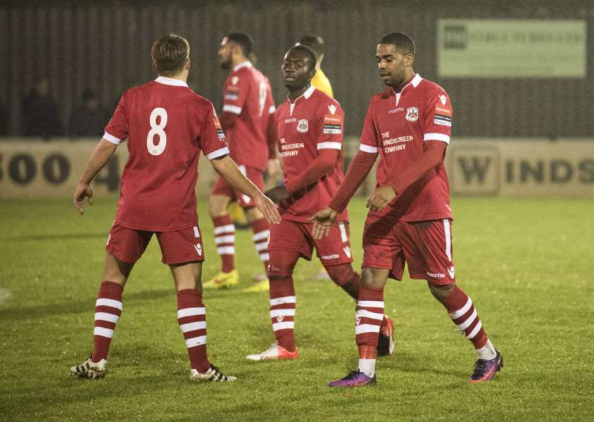 GOING THROUGH: Needham Market celebrate taking the lead against AFC Sudbury last night
