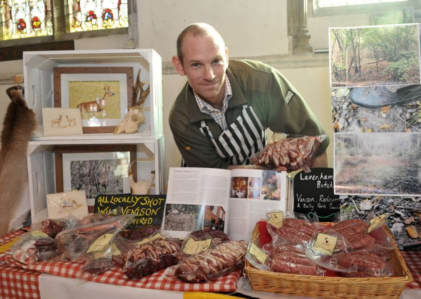 Sudbury Eco Fair in St Peters Church''Pictured: Greg Strolenberg from Lavenham Butchers with some local meats ANL-150111-183506009