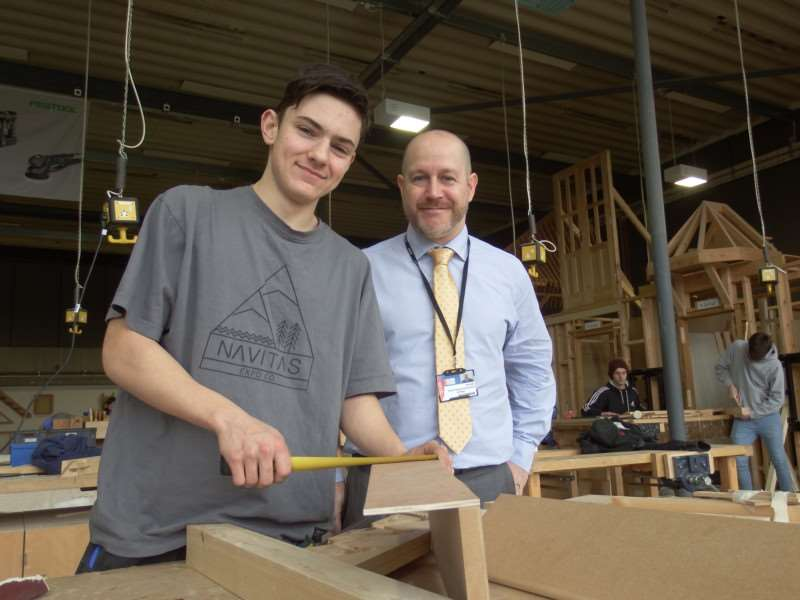 Apprentice Jacob Purvis with Phil Stittle, director of business development at West Suffolk College