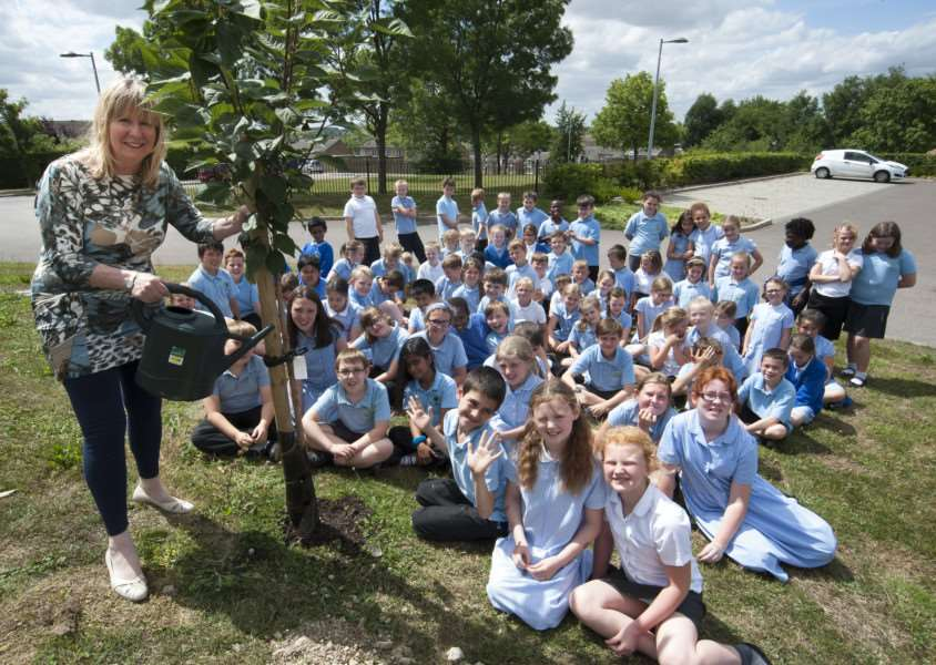 HAVERHILL: Dep head Jill Lightfoot is retiring and has planted a tree with the pupils to commemorate the occasion'Westfield Primary Academy'Picture Mark westley ANL-150721-205200009