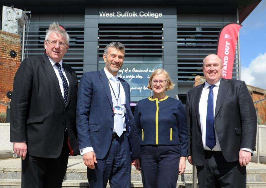 Cllr Gordon Jones, West Suffolk College principal Nikos Saavas, Ofsted chief inspector Amanda Spielman and Suffolk County Council leader Colin Noble at the International Festival of Learning PICTURE: Mecha Morton
