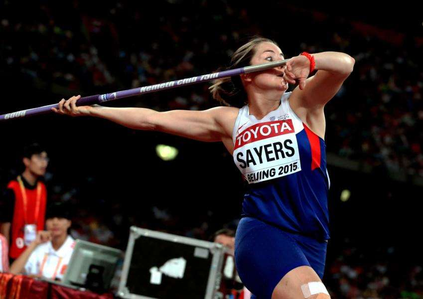 IN THE ZONE: Goldie Sayers prepares to throw at the 2015 World Athletics Championships in Beijing ' the scene of her Olympic medal controversy. Picture: British Athletics