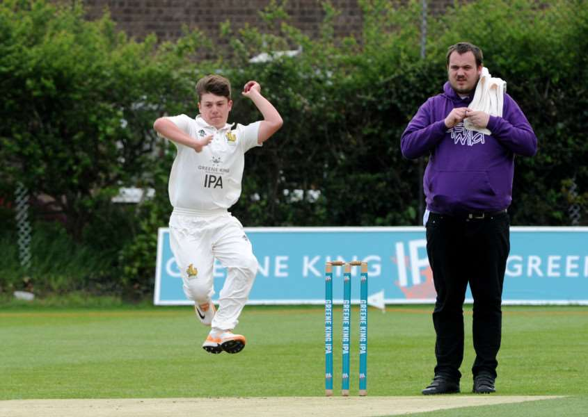 UNBEATEN START: Billy Riddick bowling for in-form Bury II during their nine-wicket victory over Yoxford in Marshall Two Counties Championship Division Four at the weekend.