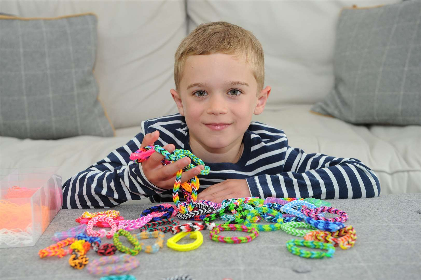 Lily Daly's son James is making loom bands to sell in aid of Sunday Supers and My WiSH charity..He has already sold nearly £150 of bracelets in a week. Lily was diagnosed with breast cancer in February and is undergoing chemo ...PICTURE: Mecha Morton.... (10881088)